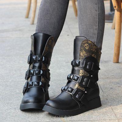 2013新款骷髅头短靴松糕厚底中筒靴马丁靴真皮平底女靴一件代发