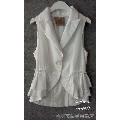 韩国进口女装 allalahhh 白色百搭修身无袖小西装