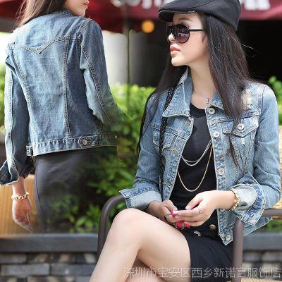 批发牛仔外套女 长袖春秋装可爱翻领 2014新款韩版牛仔衣女外套