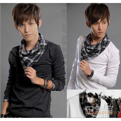 W11免费加盟韩版新 春装修身格子撞色搭配三角领设计 薄卫衣 男