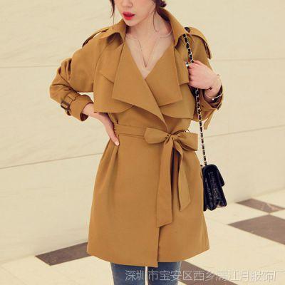 韩国风衣女2014秋季新款修身韩版外套女式风衣中长款 潮