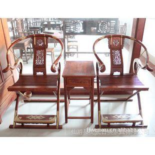 仙作明清仿古典红木家具/花梨交椅/实木圈椅/中式精雕家居3件套