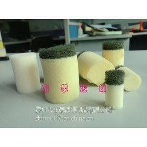 供应清洗海绵头,摩擦型海绵柱,贴百洁布海绵射弹厂家