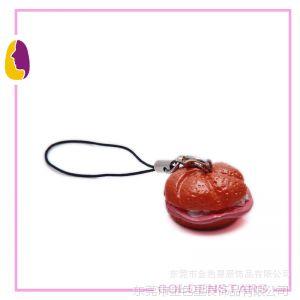 供应树脂小汉堡手机绳 手机挂件 立体汉堡手机链批发定制 来样加工