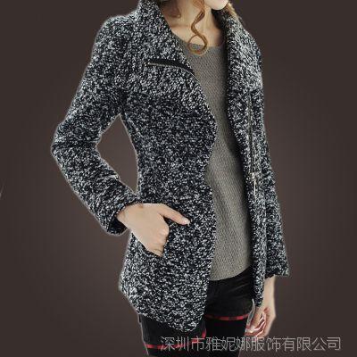韩国秋冬新款毛呢衣服尼大衣收腰毛呢外套短装羊毛毛呢西服呢子DF
