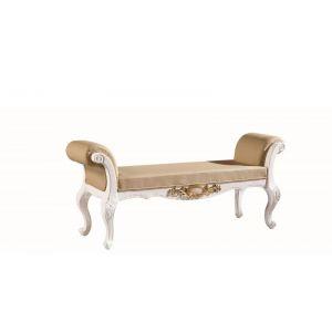 工厂供应欧式新古典白亮光实木床尾凳3036#,休闲椅