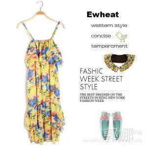 供应Ewheat M4275 2013夏季新款欧美风碎花吊带雪纺连衣裙