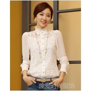 供应2013新款女装韩版大码 雪纺长袖打底衫上衣(送吊带)6163