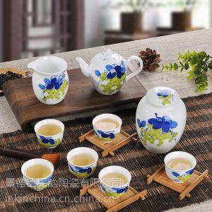 供应凤卜 葡萄/人丁兴旺 景德镇手绘陶瓷茶具套装