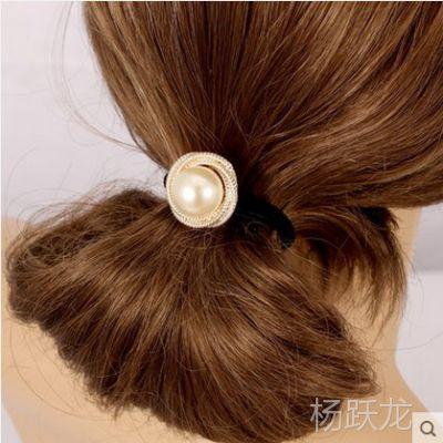 韩国甜美螺旋大珍珠橡皮筋发绳新款头饰头绳发圈扎头花女