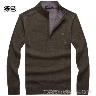 供应AJ男士厚款羊毛衫秋冬欧美简约套头高端羊绒男立领毛衣 批发