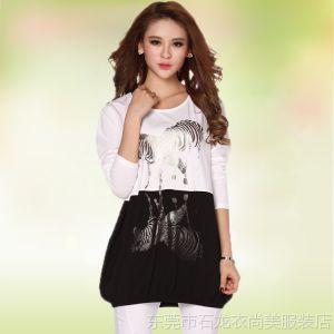 供应2014春装新款 韩版全棉中长款宽松型长袖t恤女 套头打底衫 可批发