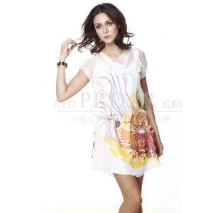 供应2011新款真丝连衣裙、外贸女装真丝连衣裙