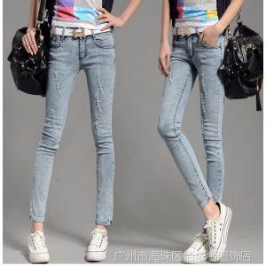 供应2014春新款韩版修身显瘦磨破洞牛仔裤装新款小脚裤
