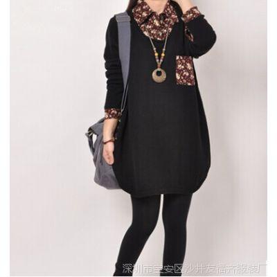 秋季新款韩版大码宽松A字中长款假两件针织外套连衣裙8353
