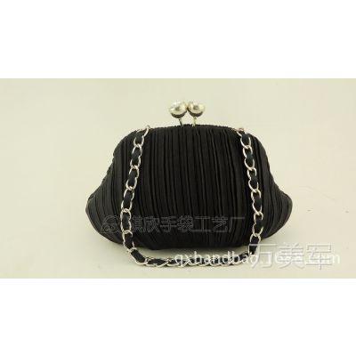 缎面色丁褶皱铁铰链条晚宴包晚装包手提包女包手袋口金包QX07169