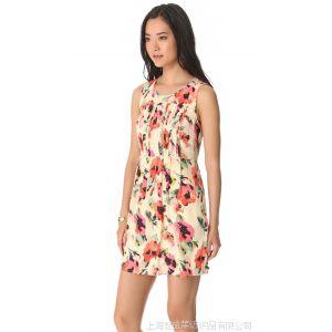 供应13款欧美MADEWELL夏季碎花真丝女装连衣裙原单印花修身无袖背心裙