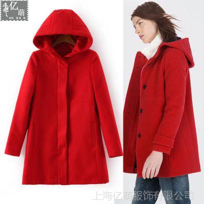 2014秋冬新款 欧美女装女式时尚修身大衣 红色连帽外套秋冬5791