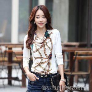 供应韩版秋装新款 打底衫印花上衣女装修身棉t恤女长袖 6087