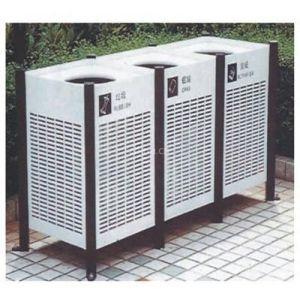 供应广州铁制户外垃圾桶 大铁箱垃圾桶 园林公园三箱垃圾桶