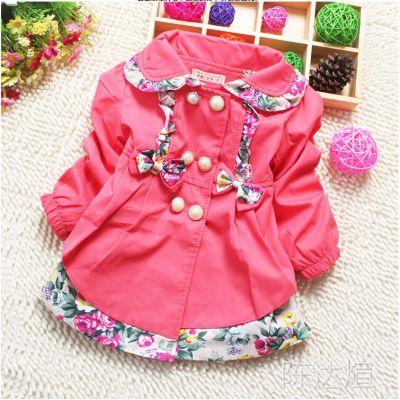 秋款品牌童装 韩版长袖儿童碎花公主款女童风衣外套2-6岁一件代发