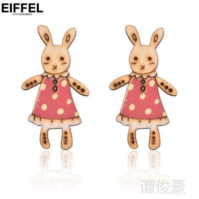 日韩外贸小饰品批发穿裙子小兔子防过敏耳钉耳环女孩俏皮活泼可爱