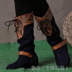 供应2014新款女鞋 绣花鞋 春秋民族风单靴 绣花靴子 棉靴