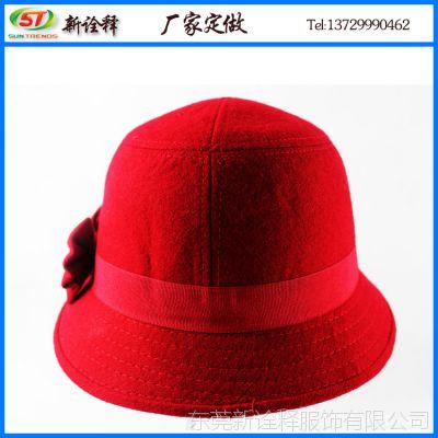 帽子女冬季礼帽 英伦复古红色呢料圆顶盆帽  韩版蝴蝶结遮阳礼帽