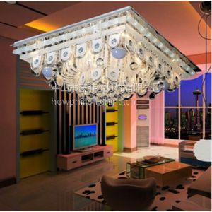 供应【豪菲尔灯饰】方形客厅灯 高光LED吸顶灯 平板水晶灯 MD12231