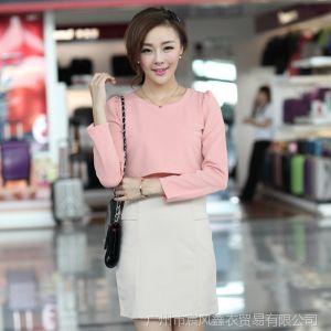 供应秋冬装新品韩版OL时尚修身显瘦女式假两件套长袖拼接连衣裙