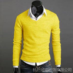 供应直销 2014新男装 修身V领 男式毛衣线衣打底衫
