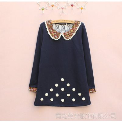 BH花色元宝领订小花冬季女装暖倍儿珍珠绒长款女式卫衣绒衫
