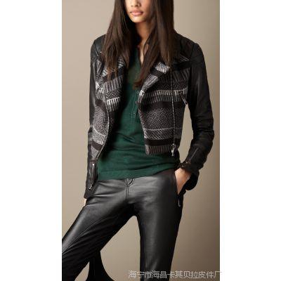 厂家供应2014B家新款 进口羊皮搭配针织女式休闲夹克女装外套