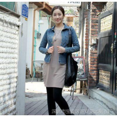 2014韩国春秋款女装翻领修身牛仔上衣纯色 牛仔衬衣女外套潮