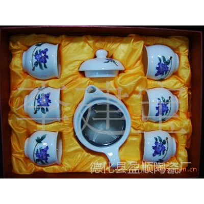 供应陶瓷 手绘兰牡丹功夫茶具 青花手绘茶具套装 德化陶瓷茶具