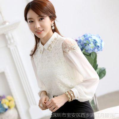 潮流新款高档大码女装 韩版翻领职业女士衬衣 长袖蕾丝雪纺衬衫