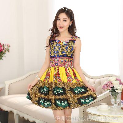 2014春夏新款名族风韩国真丝连衣裙 淘宝热销产品 网店免费加盟