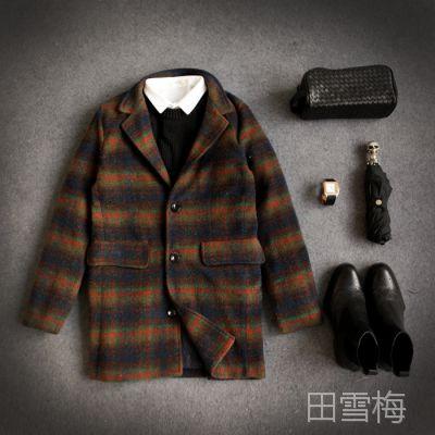 2015冬装男式大衣中长款格子大衣呢外套新格子加棉呢大衣A015