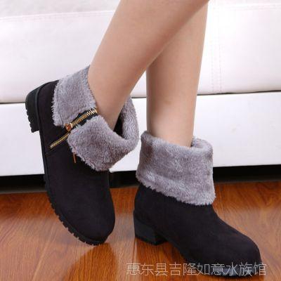 爆款热卖 2014秋冬新款优雅潮流时尚经典复古女靴 加绒复古女靴