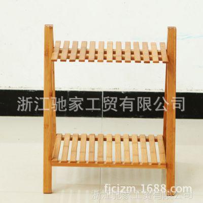 楠竹工艺厂现货出售 欧式花盆架 两层花架 木制花盆架
