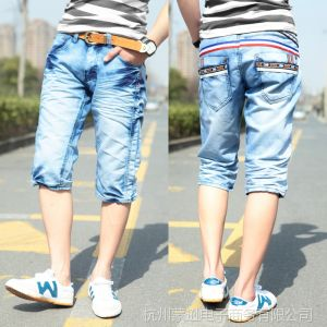 供应夏季新品 时尚腰部彩条装饰水洗褶皱牛仔短裤 男士7分牛仔裤子