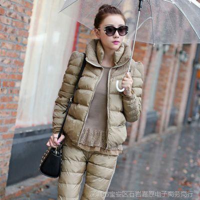 新款棉衣女套装 欧洲站女式棉衣套装冬季修身三件套女套装棉衣女