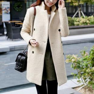 供应加厚秋冬新款韩版显瘦双排扣中长款毛呢外套 羊绒毛呢大衣女