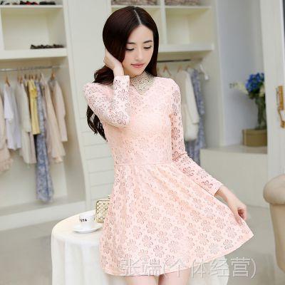 2014秋冬新款韩版女装新款蕾丝亮片修身连衣裙