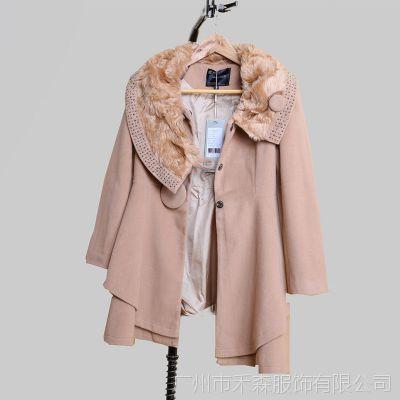 2014新款品牌羊绒冬季毛领女装大衣红色女式毛呢外套82107