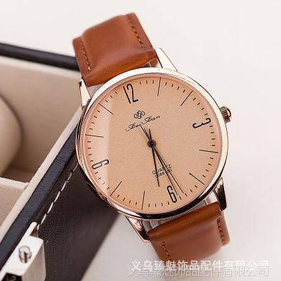 潮翻天 中性男女款手表批发 进口皮质 韩版女士手表 男款优质手表