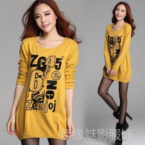 供应6915春装新款韩版时尚宽松烫钻印花中长款打底衫长袖T恤