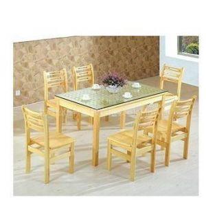 供应《松语轩》方格玻璃面餐桌+6把横条弧形餐椅