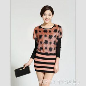 供应模特实拍秋冬新款打底毛衣女 韩版豹纹针织衫中长款连衣裙