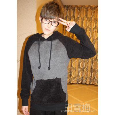 韩版修身休闲男士卫衣 林弯弯 羊羔毛卫衣搭配 加厚连帽卫衣F11